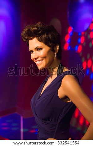 LOS ANGELES, USA - SEP 28, 2015: Halle Berry in  Madame Tussauds Hollywood wax museum. Marie Tussaud was born as Marie Grosholtz in 1761