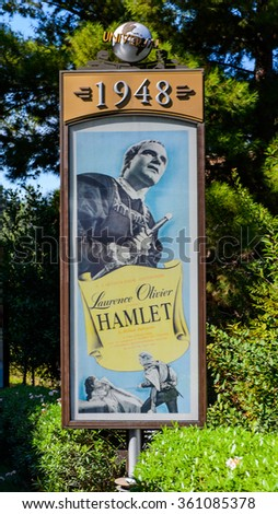 LOS ANGELES, USA - SEP 27, 2015: Hamplet film poster at the Hollywood Universal Studios. Universal Pictures company was created on June 10, 1912 - stock photo
