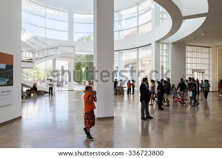 LOS ANGELES, USA - SEP 26, 2015: Information hall at the J. Paul Getty Museum (Getty Museum), an art museum in California established in 1974