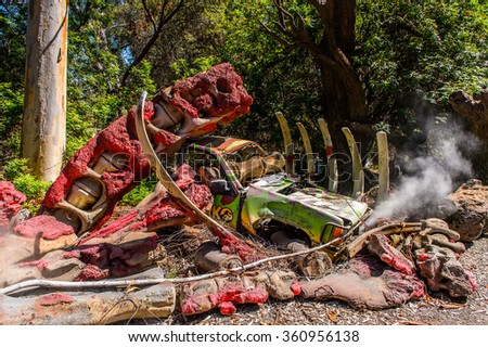 LOS ANGELES, USA - SEP 27, 2015: Jurassic Park decoration at the Hollywood Universal Studios. Jurassic Park (1993) is a Steven Spielberg film - stock photo