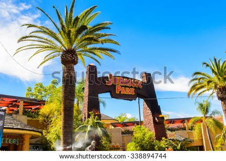 LOS ANGELES, USA - SEP 27, 2015: Jurassic Park entrance in the Universal Studios Hollywood Park. Jurassic Park is a 1993 American adventure film  by Steven Spielberg - stock photo