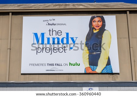 LOS ANGELES, USA - SEP 27, 2015: Mindy project poster at Hollywood Universal Studios. Universal Pictures company was created on June 10, 1912