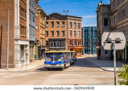 LOS ANGELES, USA - SEP 27, 2015: New York fake architecture at the Hollywood Universal Studios. Universal Pictures company was created on June 10, 1912 - stock photo