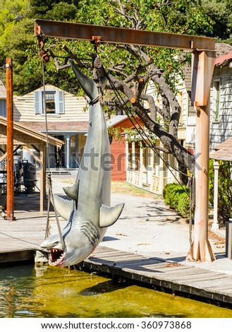 LOS ANGELES, USA - SEP 27, 2015: Shark from the Jaws film decoration  at the Hollywood Universal Studios. Jaws is a 1975 American film directed by Steven Spielberg - stock photo