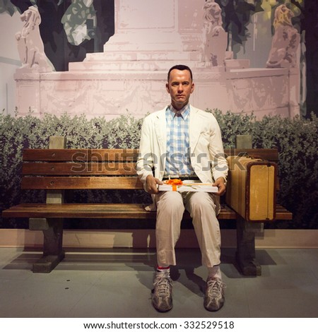 LOS ANGELES, USA - SEP 28, 2015: Tom Hanks as Forrest Gump in the  Madame Tussauds Hollywood wax museum. Marie Tussaud was born as Marie Grosholtz in 1761 - stock photo