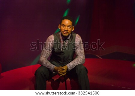 LOS ANGELES, USA - SEP 28, 2015: Will Smith in  Madame Tussauds Hollywood wax museum. Marie Tussaud was born as Marie Grosholtz in 1761 - stock photo