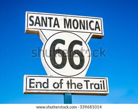 LOS ANGELES, USA - SEPTEMBER 20: Route 66 sign in Santa Monica beach on September 20, 2015 in Los Angeles, United States. Santa Monica is a beachfront city in western Los Angeles County.