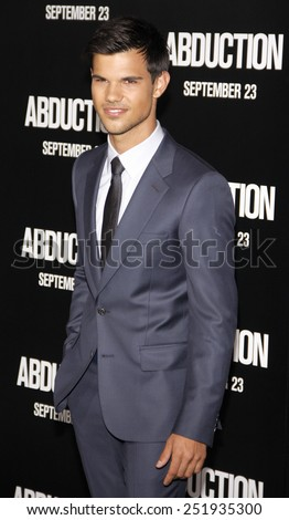 LOS ANGELES, USA - SEPTEMBER 15: Taylor Lautner at the Los Angeles premiere of 'Abduction' held at the Grauman's Chinese Theater in Hollywood, USA on September 15, 2011. - stock photo