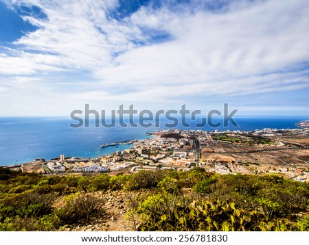 Los Cristianos and Las Americas, view from Guaza mountain. Tenerife, Canary Islands. Spain - stock photo