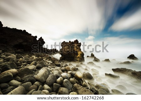 Los Hervideros beach in Lanzarote, Canary Islands (Spain) - stock photo