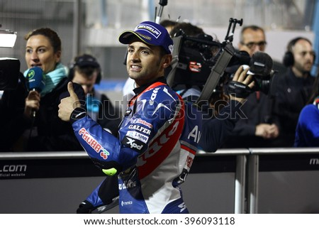 LOSAIL - QATAR, MARCH 19: Spanish Ducati rider Hector Barbera at 2016 Commercial Bank of Qatar MotoGP at Losail circuit on March 19, 2016
