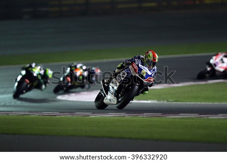 LOSAIL - QATAR, MARCH 20: Spanish Ducati rider Hector Barbera at 2016 Commercial Bank of Qatar MotoGP at Losail circuit on March 20, 2016 - stock photo