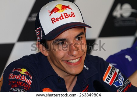 LOSAIL - QATAR, MARCH 25: Spanish Honda rider Marc Marquez during press conference at 2015 Commercial Bank MotoGP of Qatar on March 25, 2015