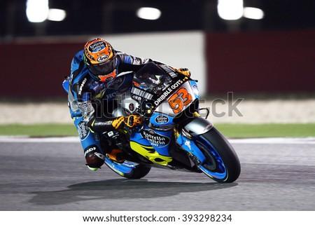 LOSAIL - QATAR, MARCH 18: Spanish Honda rider Tito Rabat at 2016 Commercial Bank of Qatar MotoGP at Losail circuit on March 18, 2016 - stock photo