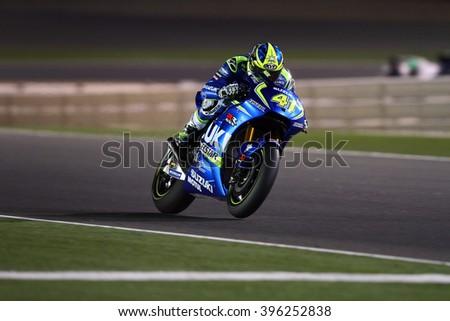 LOSAIL - QATAR, MARCH 20: Spanish Suzuki rider Aleix Espargaro at 2016 Commercial Bank of Qatar MotoGP at Losail circuit on March 20, 2016 - stock photo