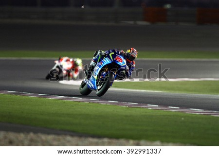 LOSAIL - QATAR, MARCH 18: Spanish Suzuki rider Maverick Vinales at 2016 Commercial Bank of Qatar MotoGP at Losail circuit on March 18, 2016