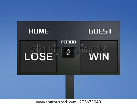 lose and win scoreboarddisplay the goal result  - stock photo