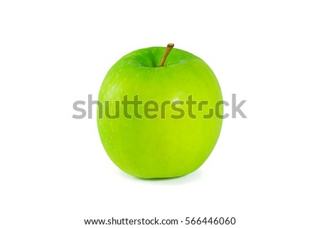 lose-up Of Green Apple Isolated  on white background