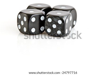 Loser with four one on black dices with white background