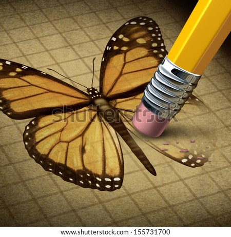 Losing hope and lost faith as a social concept of personal human despair with the symbol of a monarch butterfly being erased by a pencil as an icon of broken dreams loss and failure. - stock photo
