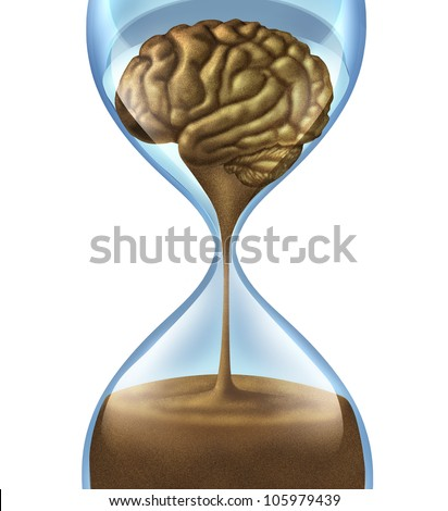 Losing your memory problems as a mental illness symbol of Dementia and Alzheimer's disease with an hour glass and time icon of sand shaped as a human brain as loss of intelligence function.