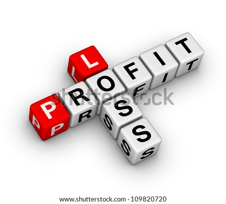 loss and profit crossword puzzle - stock photo