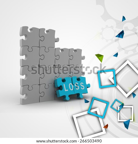 Loss in puzzle piece - stock photo