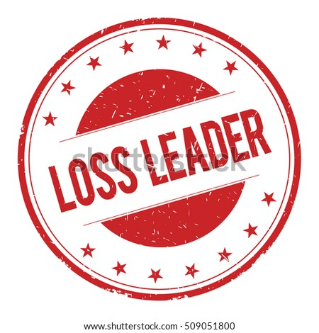 LOSS-LEADER stamp sign text word logo red.