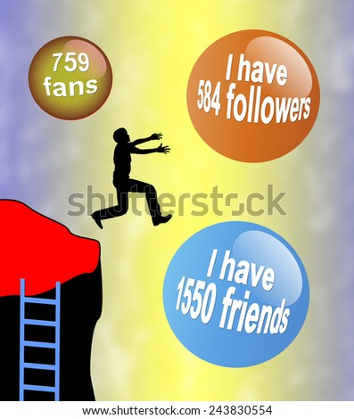 Loss of Reality. Person is losing sight of reality in the virtual world of Social Media and Social Networks  - stock photo