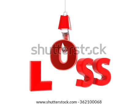 Loss text  hanging on hook - stock photo