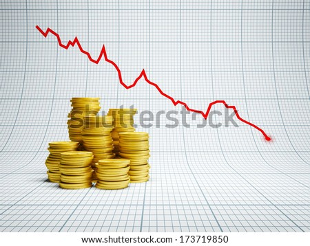 losses at financial market, 3d render - stock photo