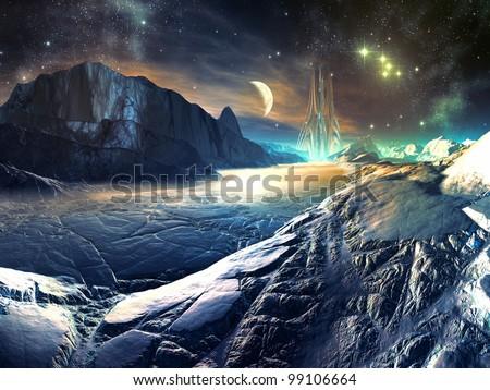 Lost Alien City in Winter Landscape - stock photo