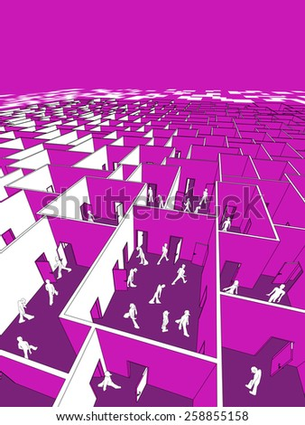 lost and confused people in endless cubical labyrinth - stock photo