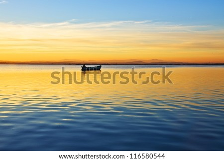 lost by the wide sea - stock photo