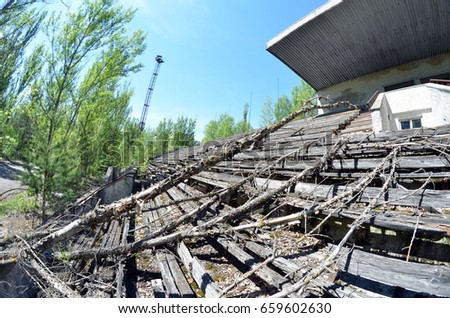 Lost city Pripyat.Chernobyl Exclusion Zone.Stadium.May 19, 2017.Kiev region.Ukraine