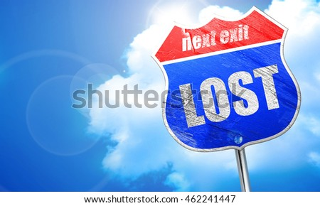 lost, 3D rendering, blue street sign