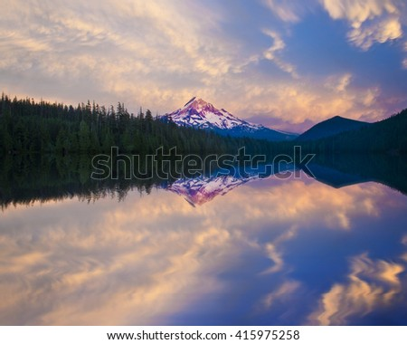 Lost Lake reflection of Mt hood at Sunset - stock photo
