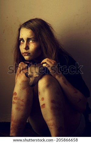 Lost little girl with her little friend - stock photo