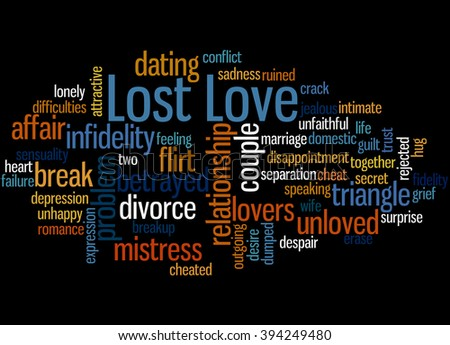 Lost Love, word cloud concept on black background.