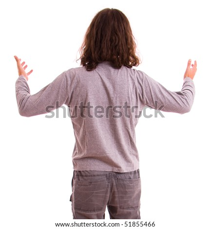 lost man from behind, isolated on white background - stock photo