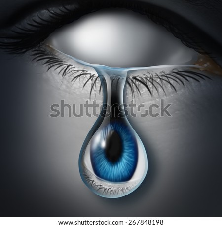 Lost person concept or anonymous victim and emotionally drained symbol as a blank empty human crying a tear with an eye ball inside the liquid as an icon for drug addiction or identity loss. - stock photo