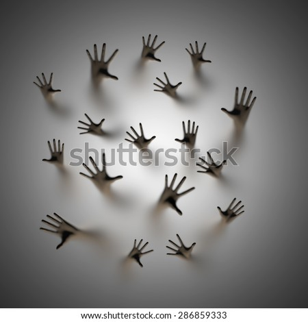 Lost souls 3D render of ghostly hands reaching up behind frosted glass