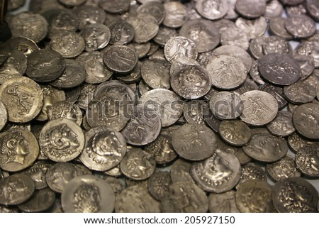 Lot of antique Roman coins. Background and texture - stock photo