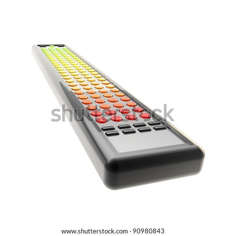 Lot of channels conception: really long tv remote isolated on white - stock photo