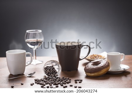 lot of coffee variations on the plate  - stock photo