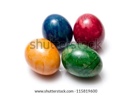 lot of colorful easter eggs isolated on white background