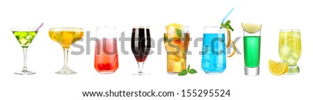 Lot of different cocktails and drinks isolated on white - stock photo