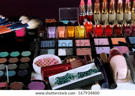 Lot of different cosmetics close-up - stock photo