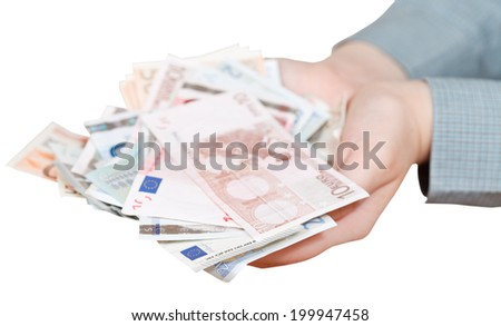 lot of euro banknotes in cupped palms isolated on white background