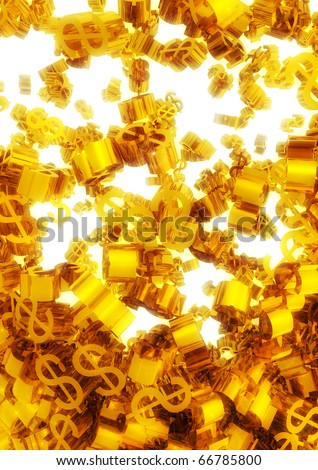 lot of falling Golden dollar symbols over a glow white background - stock photo